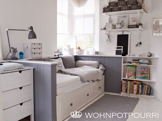 ikea hemnes tagesbett umbau via wohnpotpourri kinderzimmer pinterest hemnes suche und ikea. Black Bedroom Furniture Sets. Home Design Ideas