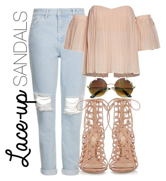 """""""Lace-Up Sandals"""" by chocapiick ❤ liked on Polyvore featuring Topshop, Gianvito Rossi, contestentry, laceupsandals and PVStyleInsiderContest"""