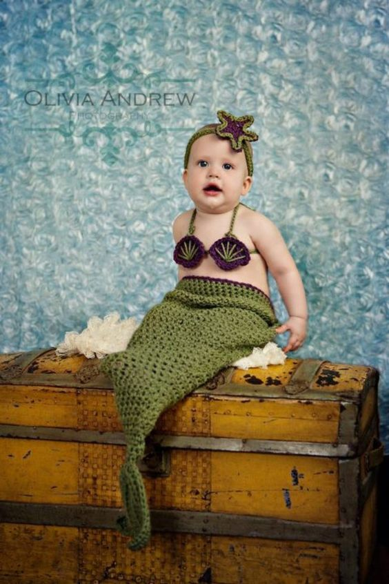 Little Mermaid crochet set -- Made to Order-- american girl bitty baby size -- available in newborn-2t sizes. $30.00, via Etsy.