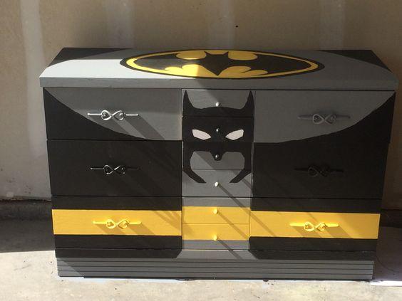 Dressers batman and chalkboard paint on pinterest for Batman bedroom paint ideas