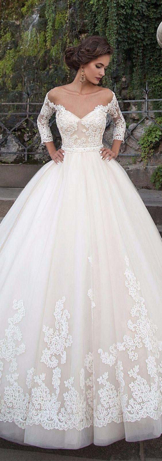 Vestido de noiva princesa - manga longa e decote ombré: