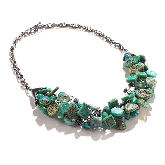 Turquoise/Silver Wire Crochet Statement Necklace by ChristineBorn on Etsy
