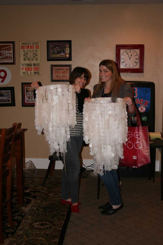 Learn to make wax paper chandeliers.
