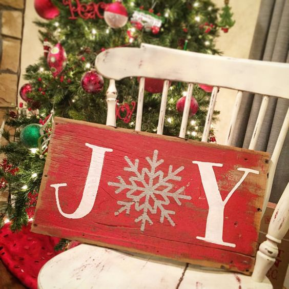 JOY,  Reclaimed Barnwood Sign, Merry Christmas, Christmas Porch Sign, Horiztonal, Mantle Decor, Snowflake, Snow, Hand-painted Wooden Sign: