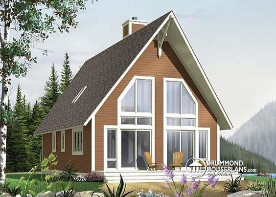 W4925 Traditional A Frame Rustic Cottage With