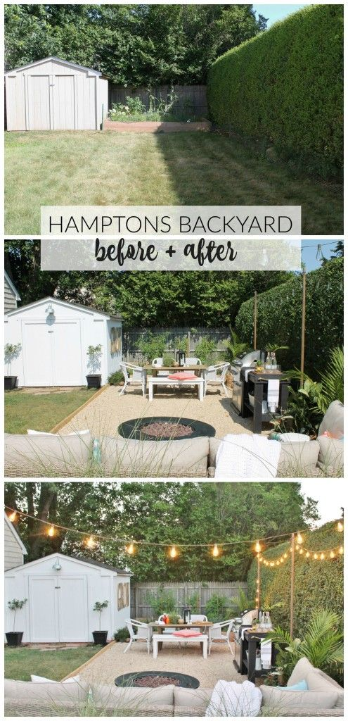 Create your very own Hamptons-inspired backyard retreat with these simple decor ideas and tutorials. See the full before and after photos on cityfarmhouse.com: