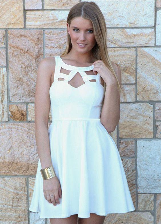 Cute White A Line Dress