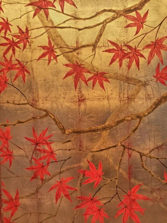 Oriental style autumnal design on distressed leaf.