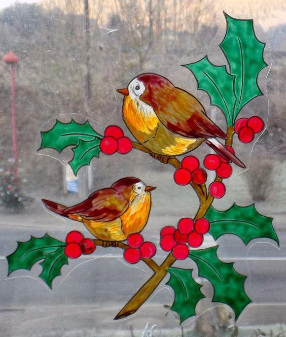 dtails sur wicoart window color sticker static cling noel christmas oiseaux et houx - Windows Color Noel