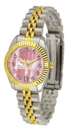 Southern Illinois University Ladies Gold Dress Watch With Crystals by SunTime. $149.95. 23kt Gold-Plated Bezel-Mother Of Pearl Dial With Swarovski Crystals. Officially Licensed Southern Illinois Salukis Ladies Gold Dress Watch With Crystals. Women. Mother Of Pearl Dial With Swarovski Crystals. Links Make Watch Adjustable. College ladies gold dress watch with mother of pearl face. Southern Illinois Salukis women's watch gives that classic, business-appropriate look. Features a 23k...