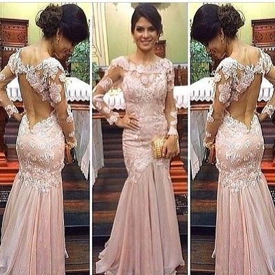 A287 lace long sleeve evening dresses, top selling mermaid prom dress, pink chiffon prom dresses