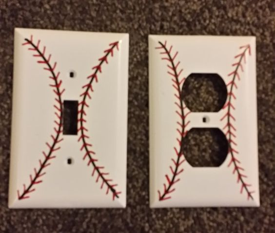 Hand Painted Baseball Light Switch & Outlet Covers by MomandSonCo, $6.99