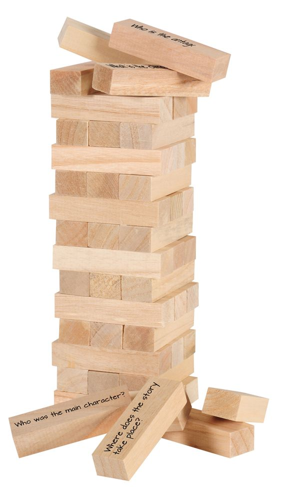 Add generic comprehension questions to a Jenga game: Who was the main character? What was the climax of the story? What was the setting?
