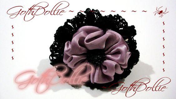 Hinged Cuff Silver Pink Flower Beautiful Black by GothDollie, $14.99