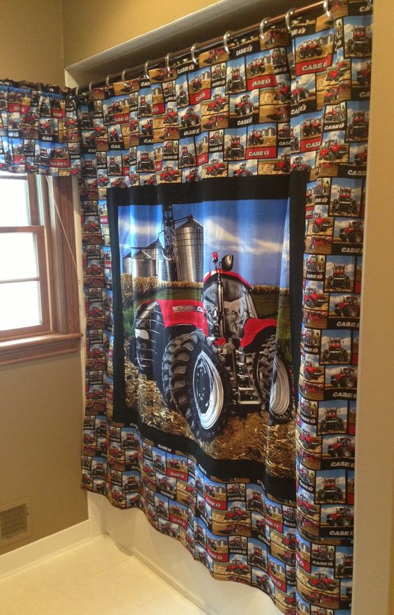 Case ih magnum tractor shower curtain for the bathroom for International harvester decor