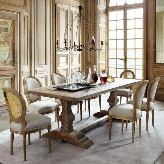 Table de salle manger en bois effet vieilli l 220 cm for Table salle a manger 70 cm