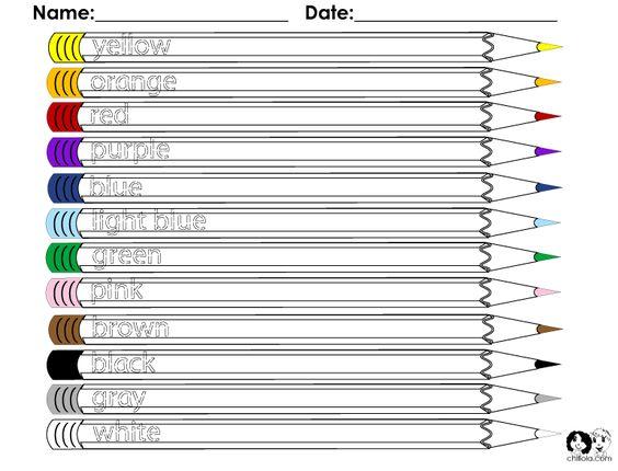 Colors English Worksheet – Spanish Worksheets for Kindergarten