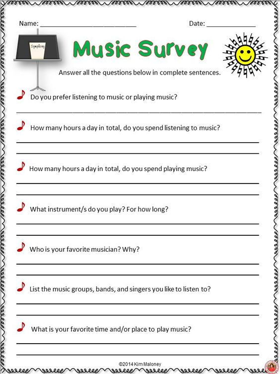 FREE IDEA - Bethu0027s Music Notes Music Survey - No download but - example of survey form