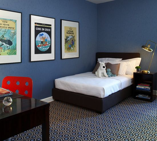 black furniture blue rooms and tintin on