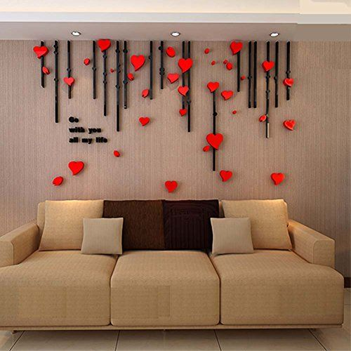 Removable wall tvs and wall stickers on pinterest for Bedroom 3d wall stickers