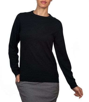 Mens Black Cashmere Crew Neck Sweater - Cashmere Sweater England