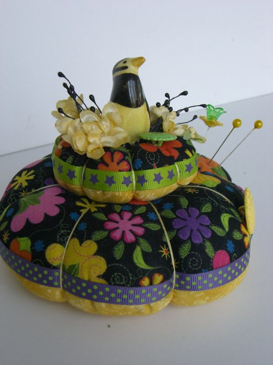 Vintage Penquin Pincushion Black and Yellow by TheRootCellar