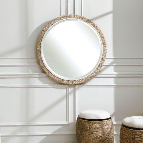 Carbet Matte White 40 Inch Round Rope, 40 Round Mirror