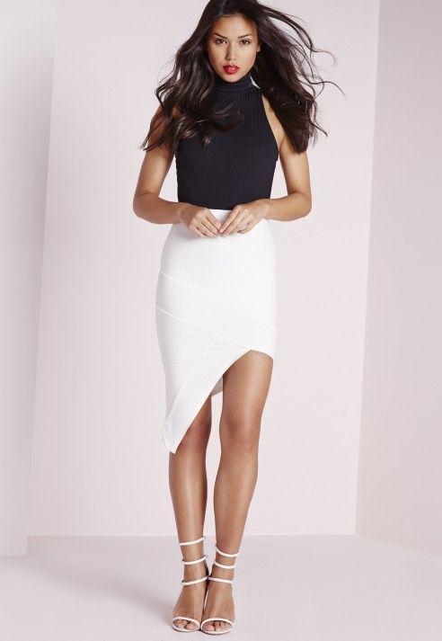 Bandage Asymmetric Midi Skirt White from Missguided