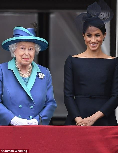 Duchess of Sussex and  Queen Elizabeth II.