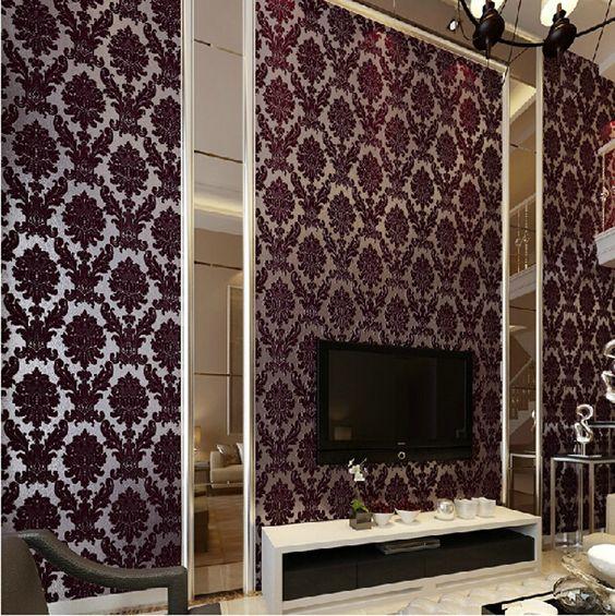 3 d wall paper decorations board | decoration Velvet floral wallpaper roll 3d flocking flower wall paper ...