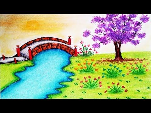 How To Draw A Scenery Of Garden By Oil Pastels Landscape Drawing Youtube Garden Drawing Flower Garden Drawing Landscape Drawings