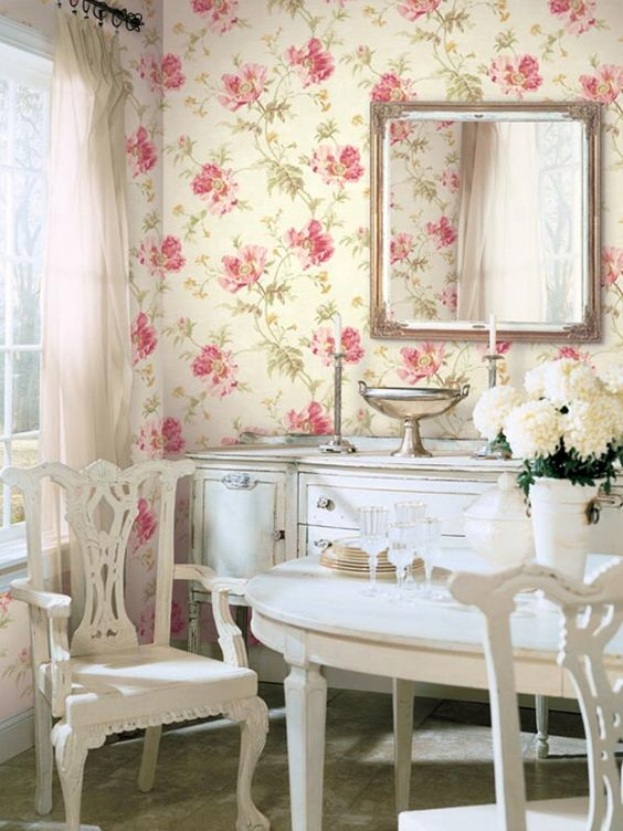 classic english cottage look with pink floral wallpaper and creamy white furniture shabby chic. Black Bedroom Furniture Sets. Home Design Ideas