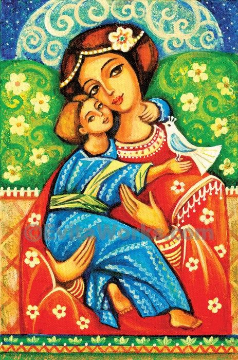 Religious folk art icon Mary and Jesus child Virgin Mary Mothers love Madonna with Child Christian folk art, signed print, 7x10.5 10x15