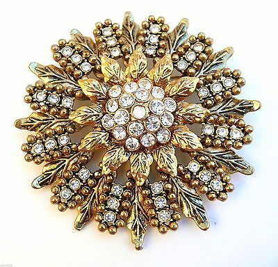 1950 Vintage BIG '60 Goldtone & Strass Floral Design Spilla PIN