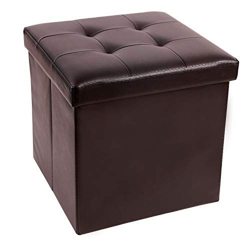 15 55l Faux Leather Storage Ottoman Cube Folding Small Ottoman Foot Rest For Bedroom Dorm Leather Small Ottoman Faux Leather Ottoman Leather Storage Ottoman