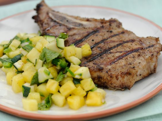to grill pork chops mint salsa recipe i want food network grilled pork ...