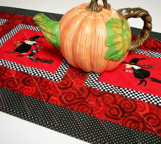 Halloween Table Runner Witchy Woman Handmade by atthebrightspot