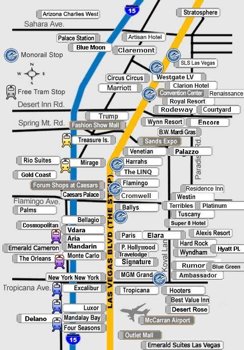 Map of Las Vegas Strip Hotels and Surrounding Areas. Las Vegas Direct Discount Hotel Reservations.