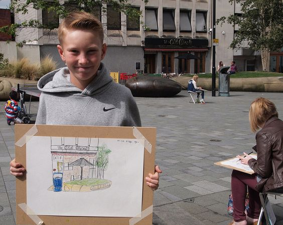 Drawing the Summer event in Sheffield - Sketching in Tudor Square
