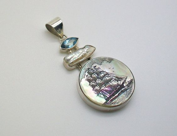 Scrimshaw Nautical Sterling Silver Mother of Pearl by lindalayden