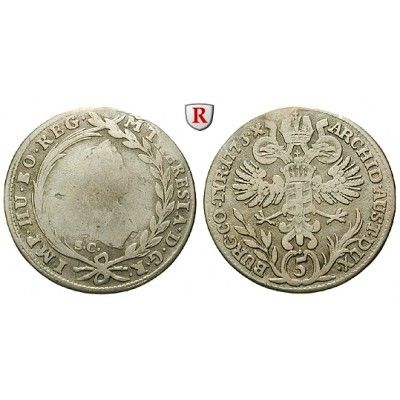 Römisch Deutsches Reich, Maria Theresia, 5 Kreuzer 1773, s-ss: Maria Theresia 1740-1780. 5 Kreuzer 1773 Günzburg SC. Herinek 1296;… #coins