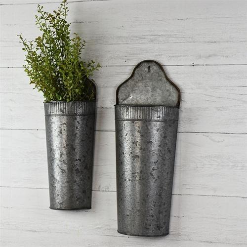 Ridged Wide Round Tin Wall Pocket Planter Tin Walls Planters Wall Pockets