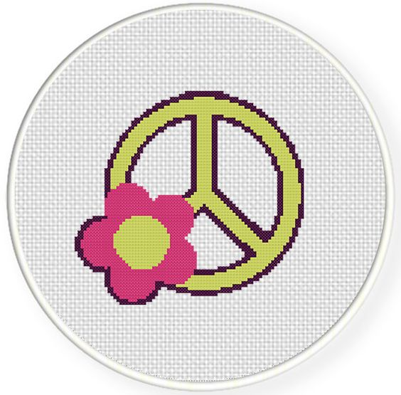FREE for Feb 26th 2014 Only - Peace Sign with Flower Cross Stitch Pattern