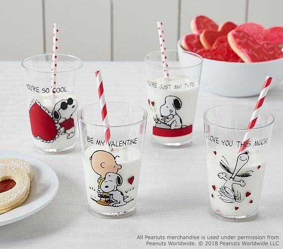 PLATE /& TUMBLER SET NEW Pottery Barn Kids Snoopy VALENTINE I love you this much