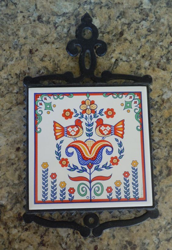 Vintage Berggren Ceramic Tile Trivet Birds Swedish Folk
