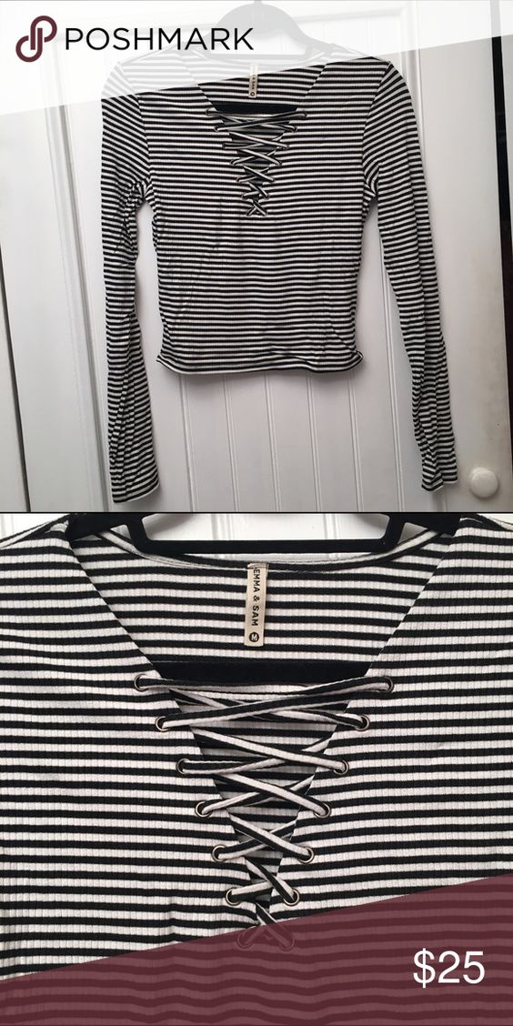 LF Lace-up Crop Top Great Emma & Sam crop top with lace up detail. Worn only 3-4 times. In great condition! LF Tops Tees - Long Sleeve