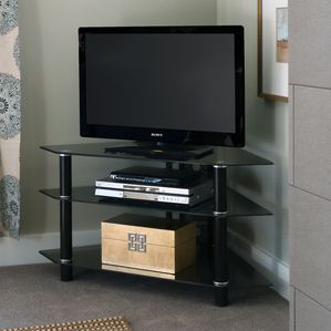"Walker Edison 44"""" Silver Glass Corner TV Stand"