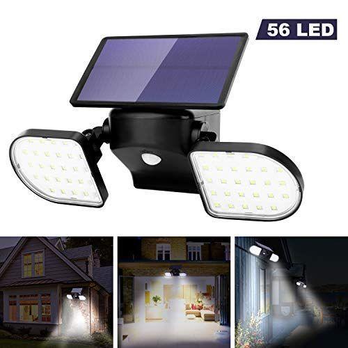 Ousfot Luz Solar Exterior 56 Led Foco Solar Con Sensor De Movimiento Lámpara Solar Iluminación Solar Al Aire Libre Lamparas Solares Para Exterior Luces Solares
