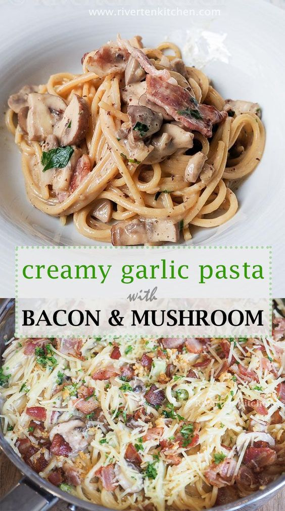 Creamy Garlic Pasta with Bacon and Mushroom