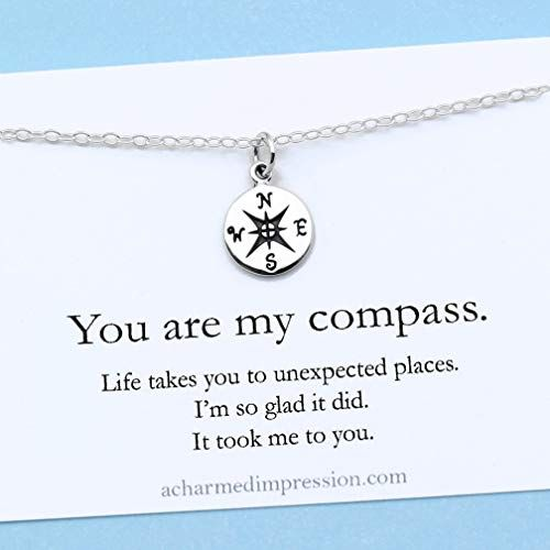 You Are My Compass I D Be Lost Without You Personalized Sterling Silver Ch Sterling Silver Charm Necklace Personalized Charm Necklace Charm Necklace Silver
